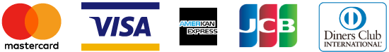 MasterCard、VISA、 JCB、AMERICAN EXPRESS、Diners Club International